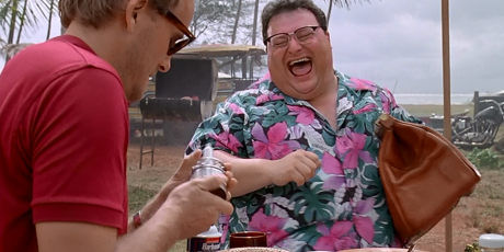 Nedry laughing nobody cares he just stole dinosaur DNA
