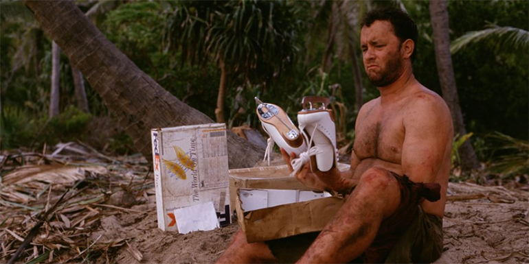 Tom Hanks is cast away with a bunch of mail parcels. The packet metaphor is a stretch, we know (image property of 20th Century Fox).