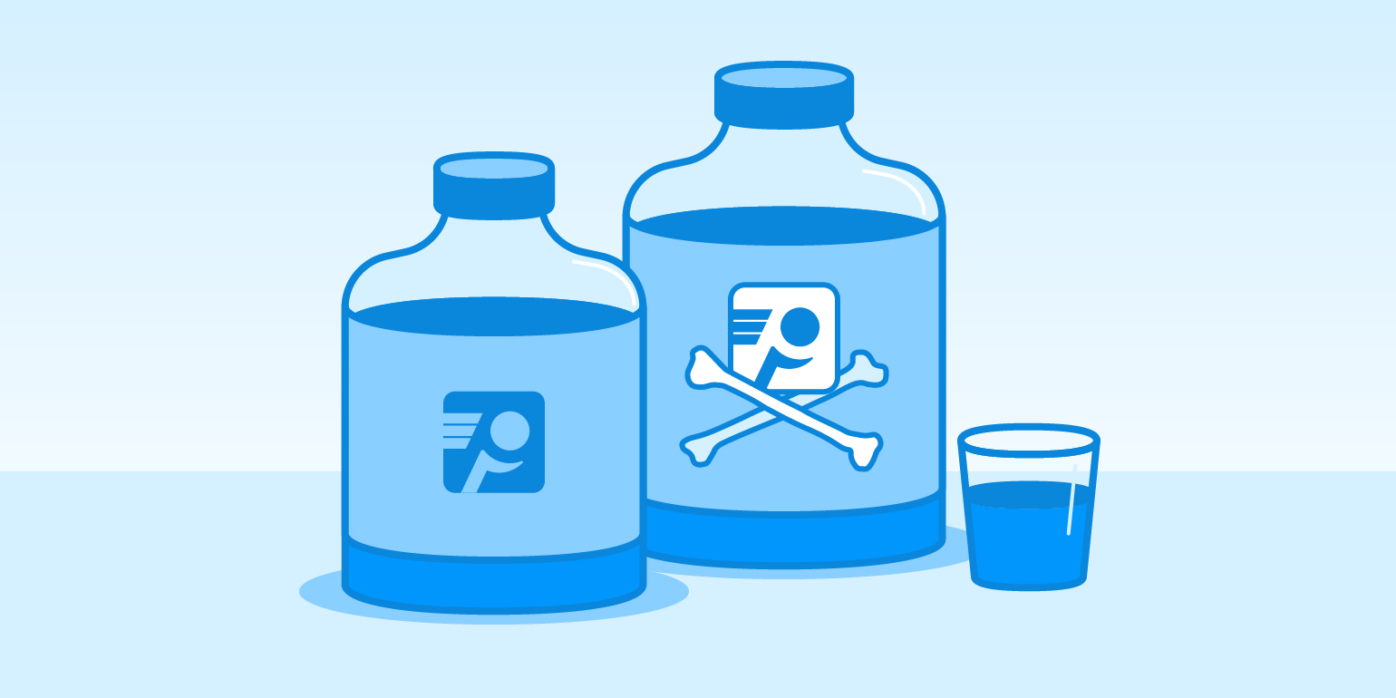 An illustration of two similar-looking bottles full of liquid. One bottle is labeled with the PingPlotter logo; the other with the PingPlotter logo and crossed bones. A small, half-full glass sits beside them.