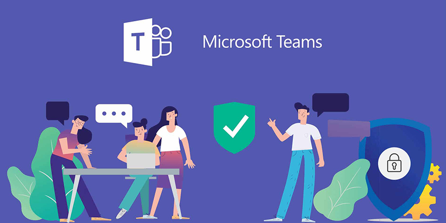 An artistic presentation of people collaborating on projects underneath the Microsoft Teams logo (image property of Microsoft).