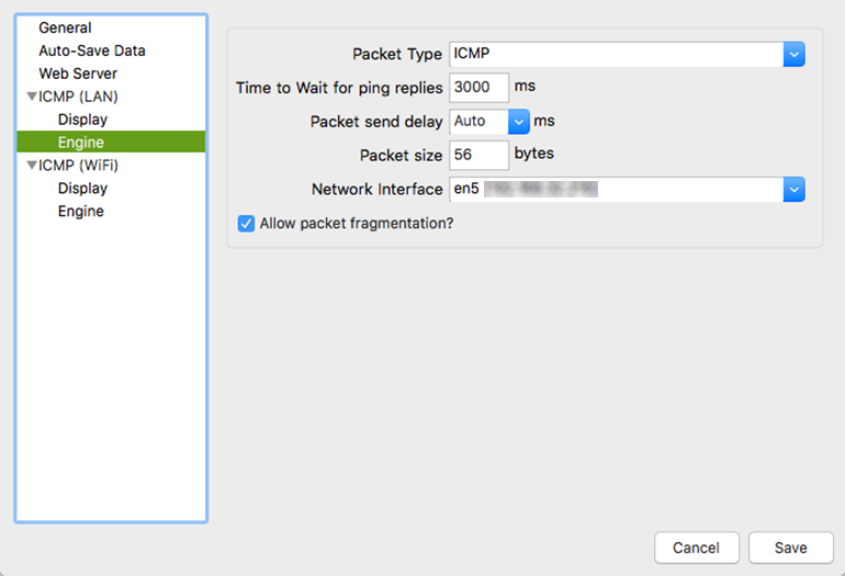 A screenshot of PingPlotter preferences