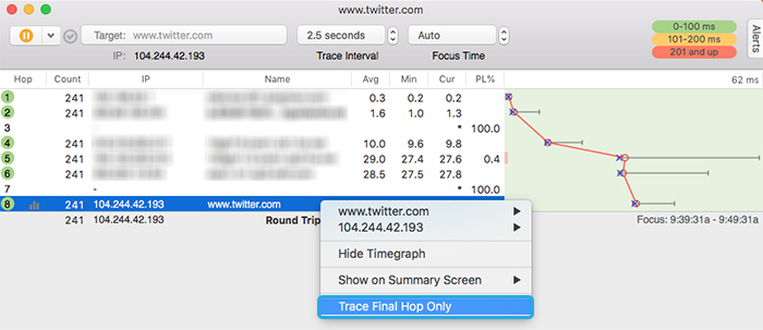 The right-click menu for a PingPlotter trace