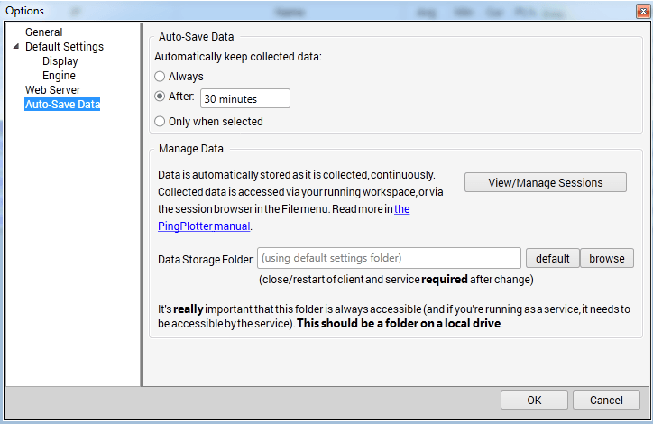 auto saving of data pingplotter